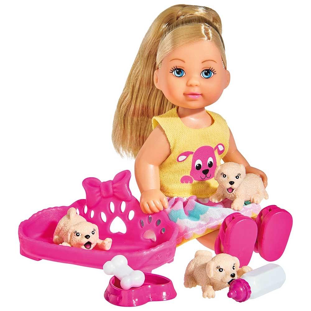 Papusa Simba Evi Love Puppy Love papusa 12 cm cu 3 catelusi si accesorii