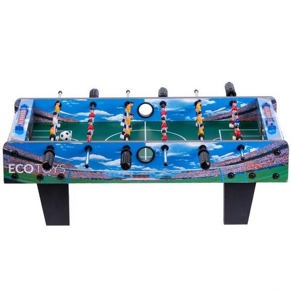 Masa de fotbal din lemn ecotoys 70 x 36 x 24 cm - albastru imagine