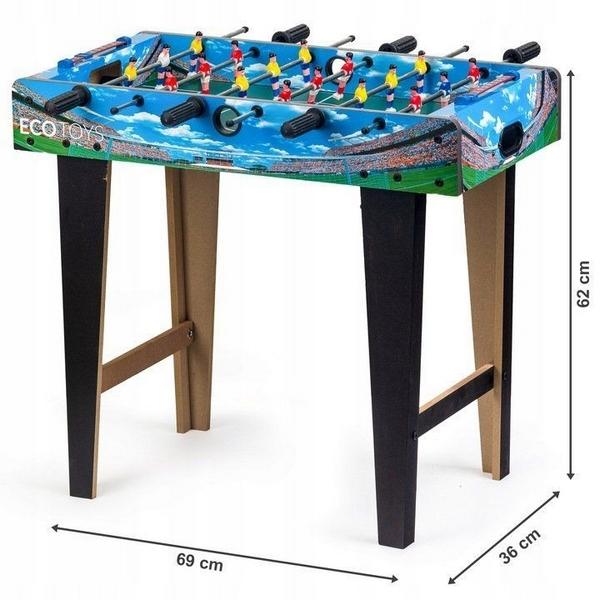 Masa de fotbal din lemn ecotoys 69 x 36 x 62cm - albastru imagine