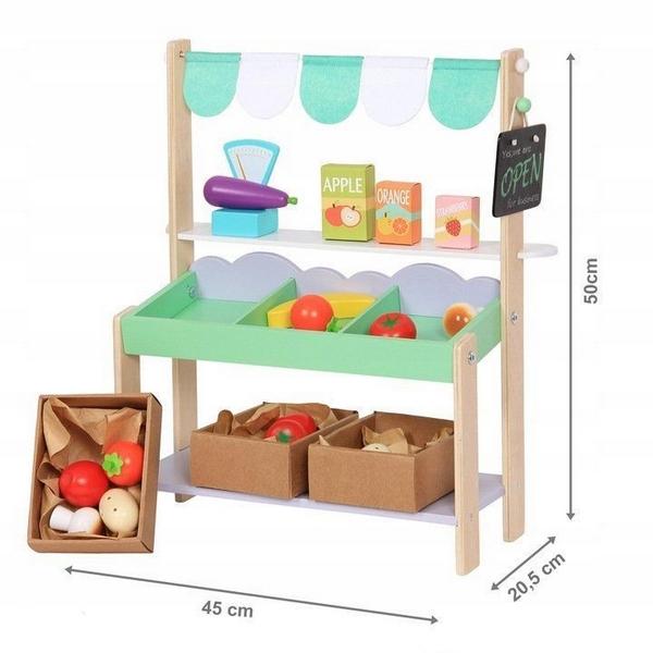 Stand magazin din lemn ecotoys + 37 accesorii