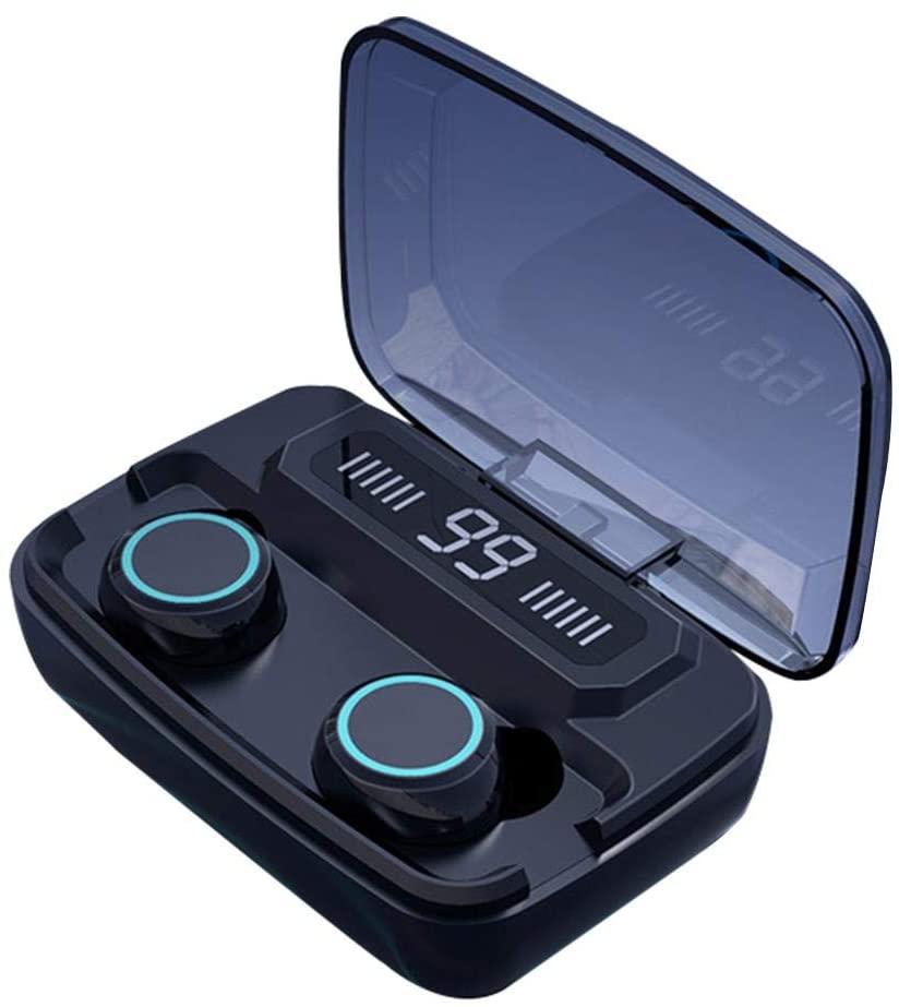 Casti Telefon cu Bluetooth Tinderala M11 cu microfon, Wireless Fara fir, PowerBank 2000 mA, Rezistente la apa, Microfon Incoporat, Compatibilitate Universal, Negru Metal Black imagine