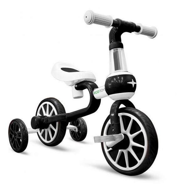 Bicicleta cu roti ajutatoare ecotoys lc-v1311 - alb cu negru