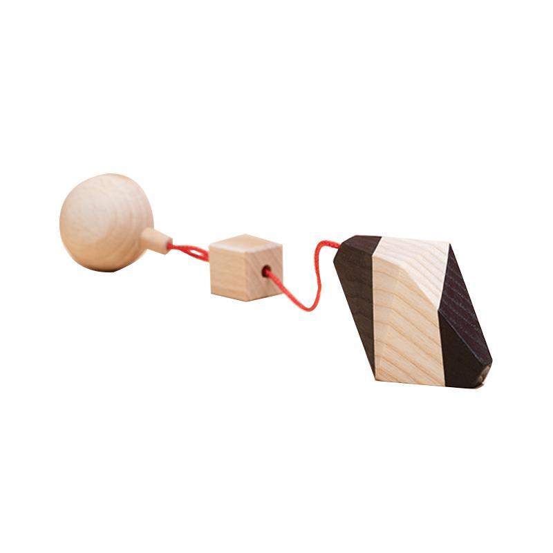 Jucarie din lemn corp geometric octaedru neregulat, natur-negru, pentru carusel / centru de activitati, Mobbli imagine
