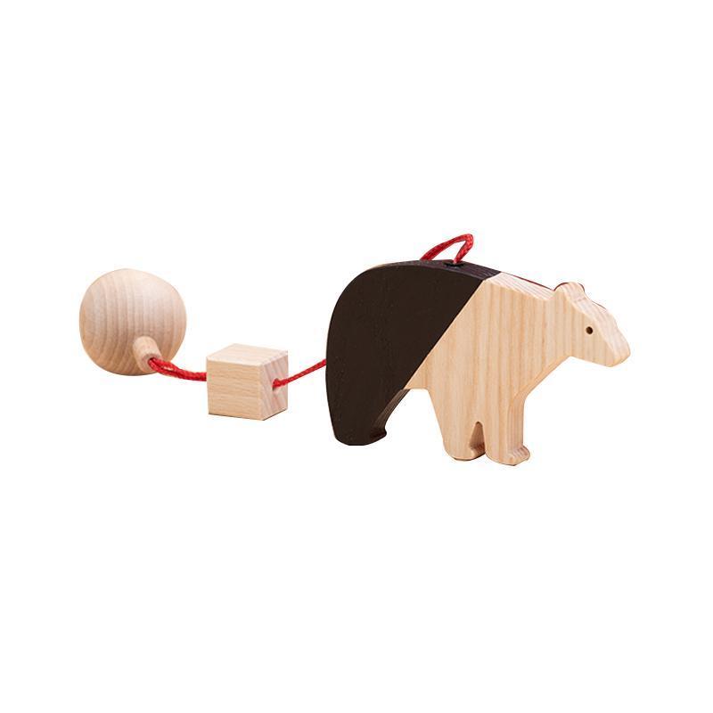 Jucarie din lemn urs polar, natur-negru, pentru carusel / centru de activitati, Mobbli imagine
