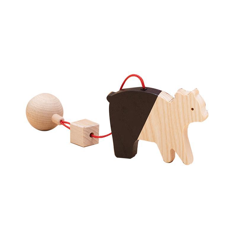 Jucarie din lemn urs, natur-negru, pentru carusel / centru de activitati, Mobbli imagine