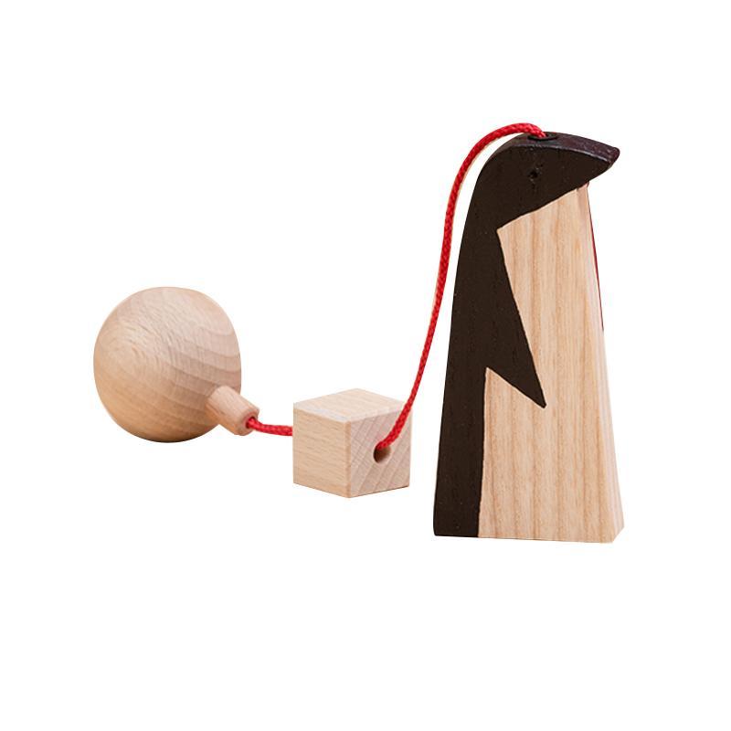 Jucarie din lemn pinguin, natur-negru, pentru carusel / centru de activitati, Mobbli imagine