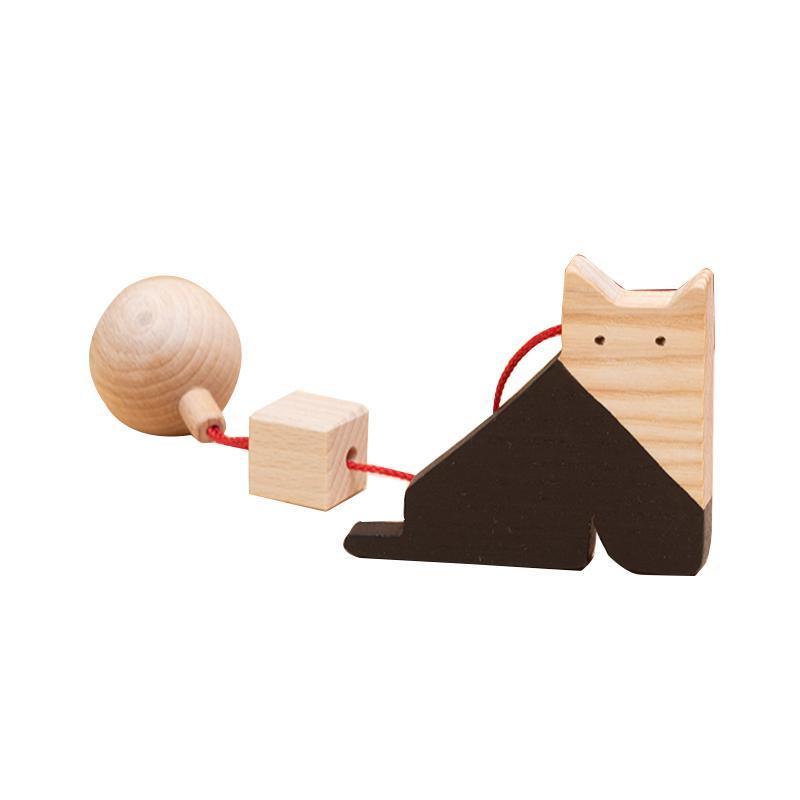 Jucarie din lemn pisica, natur-negru, pentru carusel / centru de activitati, Mobbli imagine