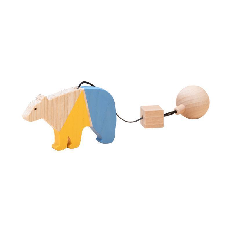 Jucarie din lemn urs polar, colorat, pentru carusel / centru de activitati, Mobbli imagine