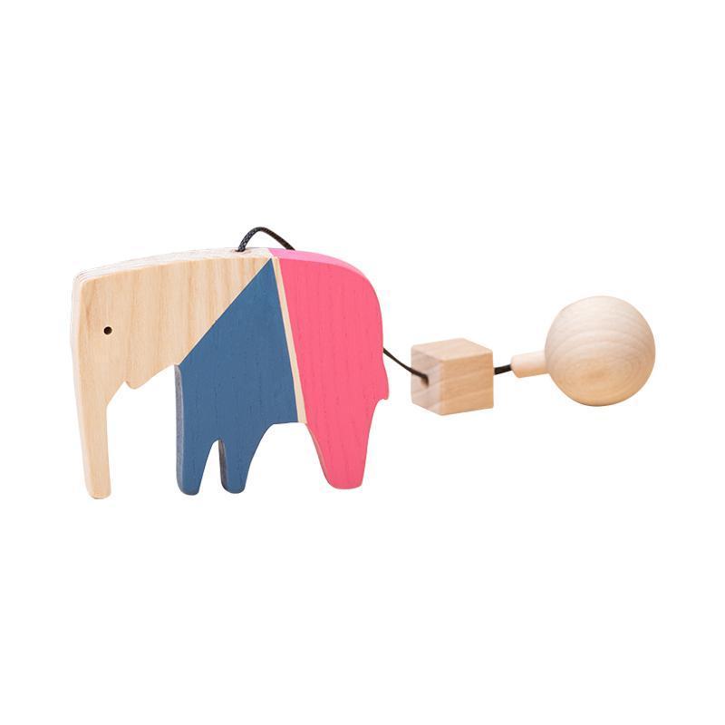 Jucarie din lemn elefant, colorat, pentru carusel / centru de activitati, Mobbli imagine
