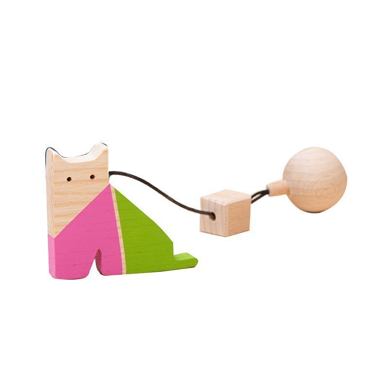 Jucarie din lemn pisica, colorat, pentru carusel / centru de activitati, Mobbli imagine