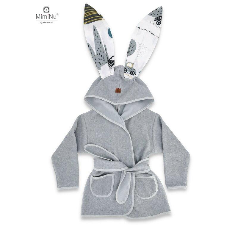 MimiNu - Halat de baie cu urechi, 6 - 24 luni, Grey/Childrens Journey grey imagine