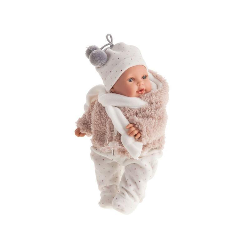 Papusa bebe realist mic Kika imbracat de iarna, cu sunet, bej-alb, Antonio Juan