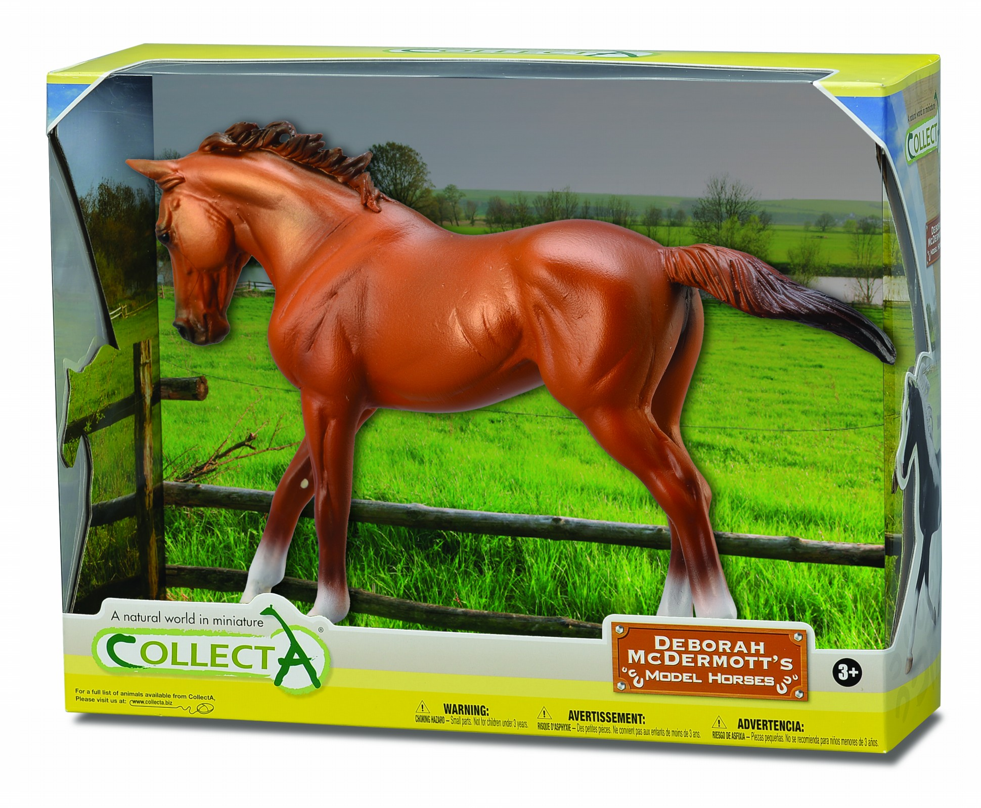 Figurina in cutie Iapa Thoroughbred Chestnut pictata manual WB Collecta