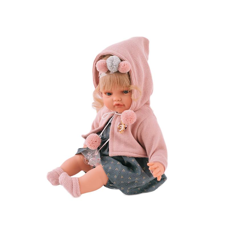 Papusa fetita Beni blonda cu diadema si coc, cu sunet, roz-gri, Antonio Juan