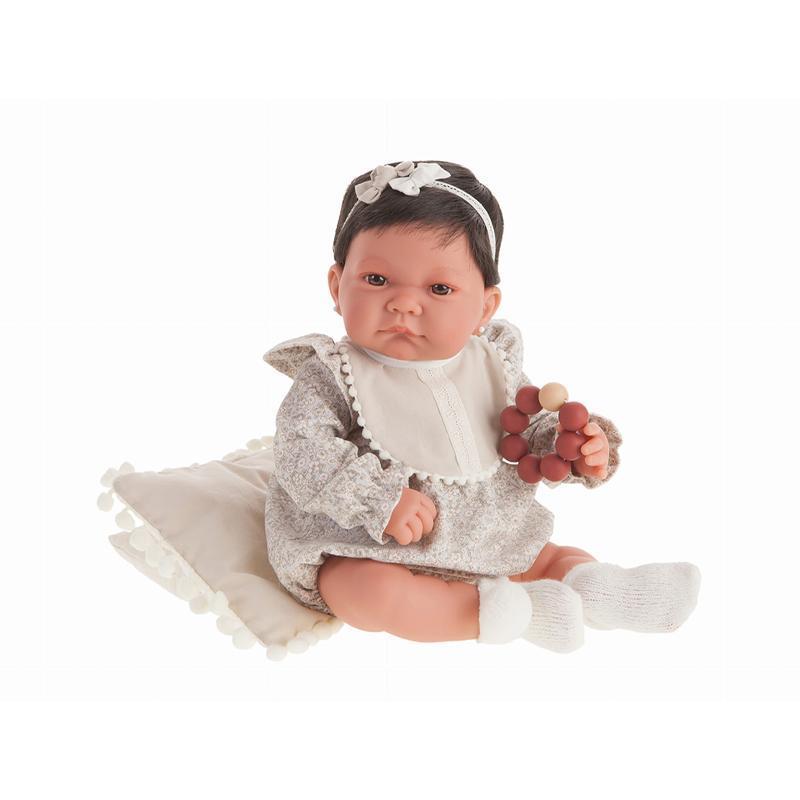 Papusa fetita Nica bruneta cu babetica si cordeluta, alb-gri, Antonio Juan