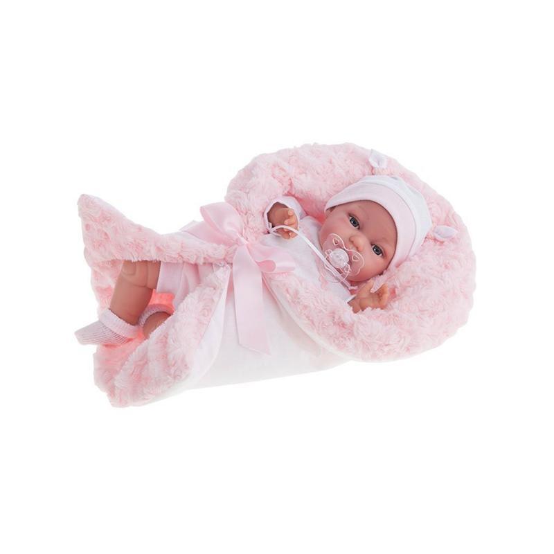 Papusa bebe realist Toneta cu salteluta, cu sunet, alb-roz pal, Antonio Juan