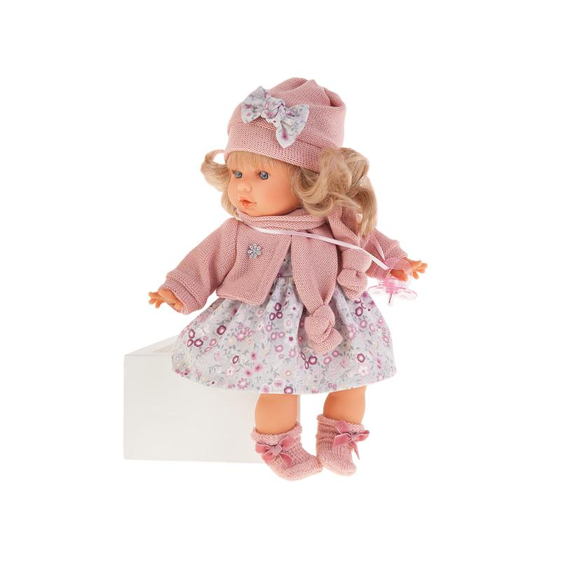 Papusa fetita Dato blonda cu rochita si accesorii crosetate, cu sunet, roz, Antonio Juan