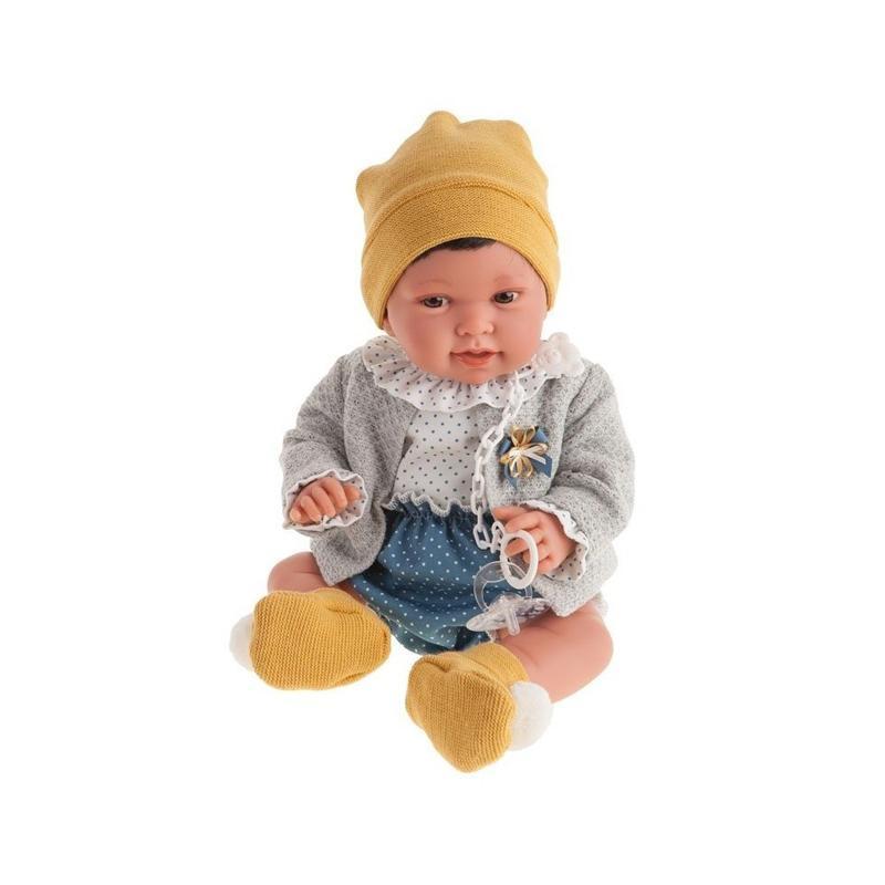 Papusa baietel Pipo brunet cu buline, galben-bleumarin-gri, Antonio Juan