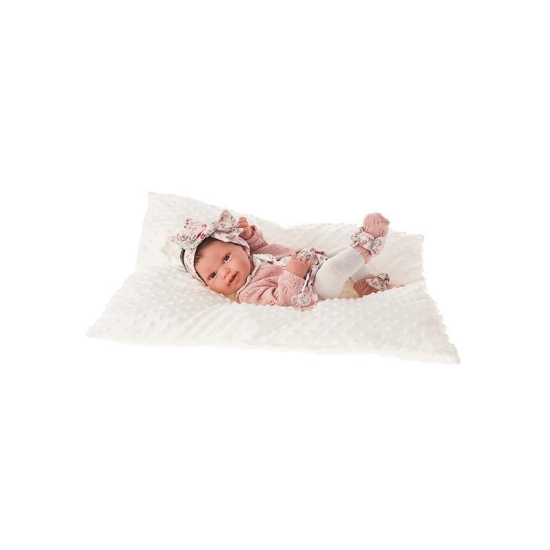 Papusa bebe realist Pipa Reborn cu pernuta, cu articulatii, alb-roz, corp realist anatomic, Antonio Juan