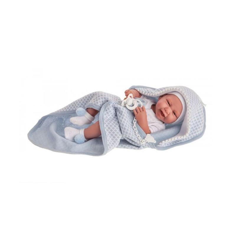 Papusa bebe realist Carlo cu prosopel, corp anatomic corect, alb-albastru, Antonio Juan