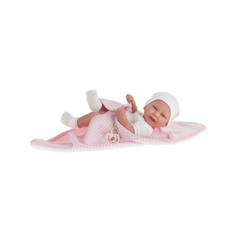 Papusa bebe realist Carla cu prosopel, corp anatomic corect, alb-roz, Antonio Juan