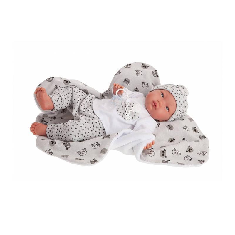 Papusa bebe realist Alejandro Reborn cu paturica panda, gri-alb, Antonio Juan