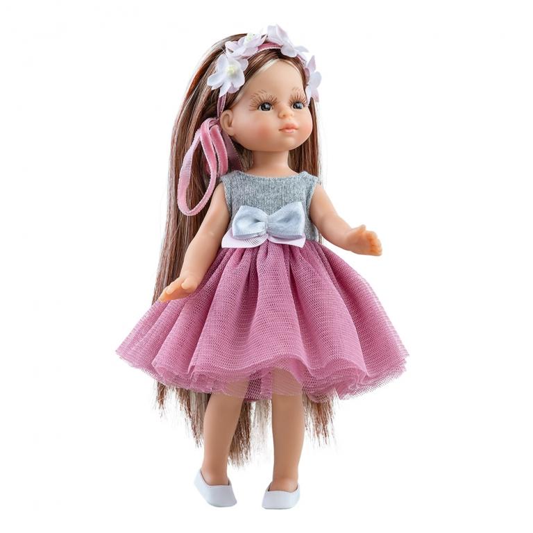 Papusa JUDITH cu fusta din tul roz si parul lung cu suvite - MiniAmigas, Paola Reina