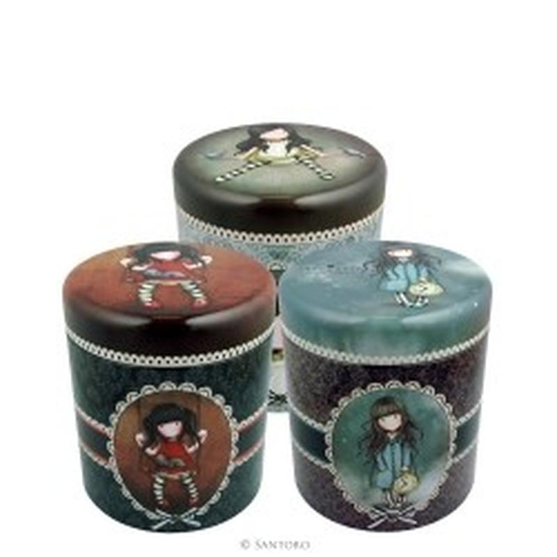 Set 3 cutii metalice Gorjuss On top of the world Ruby White Rabbit imagine