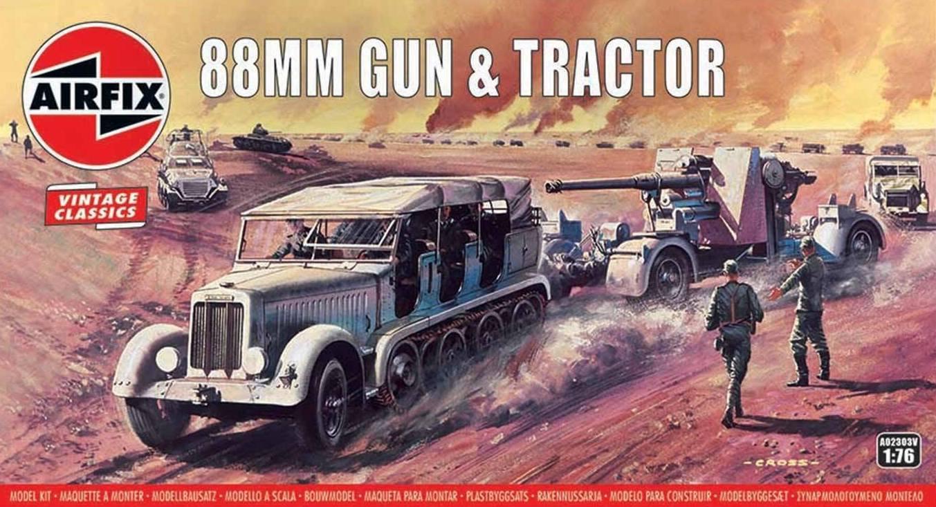 Kit constructie Airfix Vintage Classics - 88mm Gun & Tractor 1:76