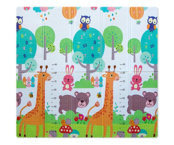 Covor termoizolant din spuma, pliabil, cu 2 fete, 197x177 cm, Giraffe