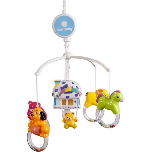 Carusel muzical sun baby 012 cu lampa, sunete si jucarii imagine