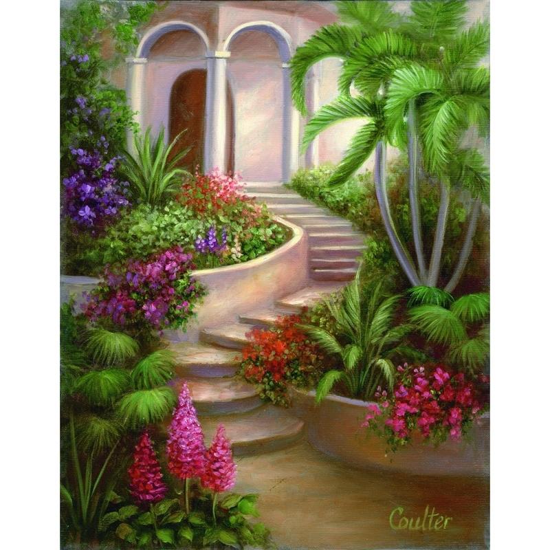 Set pictura artistica pe panza - Gradina tropicala imagine