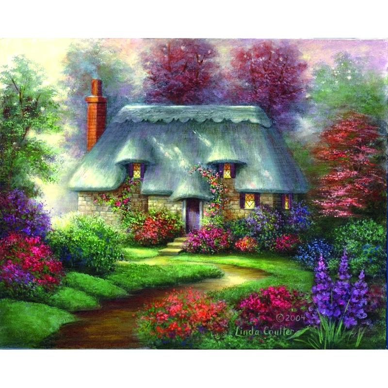 Set pictura pe panza - Peisaj Casuta romantica imagine