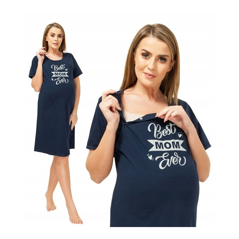 Qmini - Camasa de alaptat, M, Best Mom Ever, Navy Blue imagine