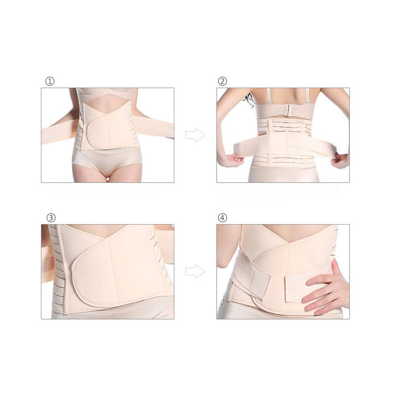 Qmini - Centura abdominala postnatala dublu reglabila, Beige imagine