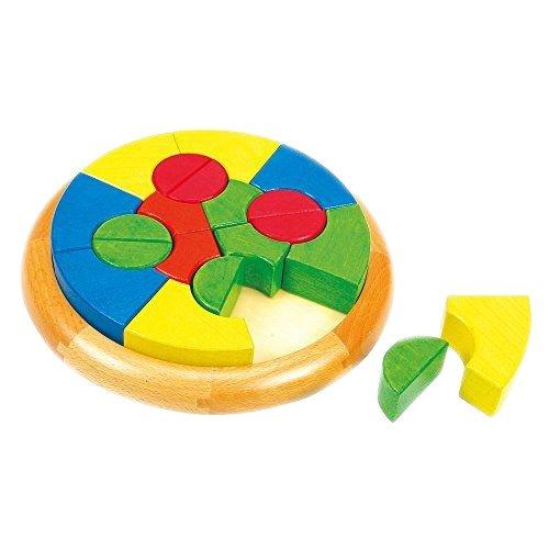 Puzzle Circular cu Forme Geometrice din Lemn