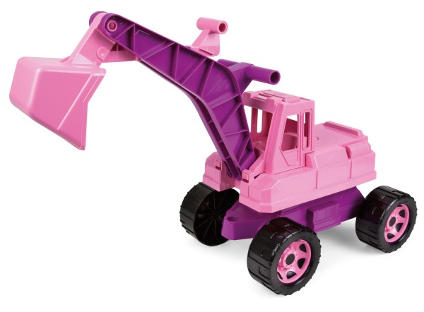 Excavator gigant Lena din plastic cu cupa de 70 cm Roz
