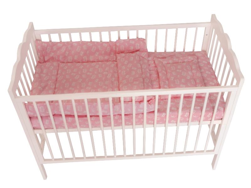 Lenjerie MyKids Crown Pink 3 Piese 120x60 imagine