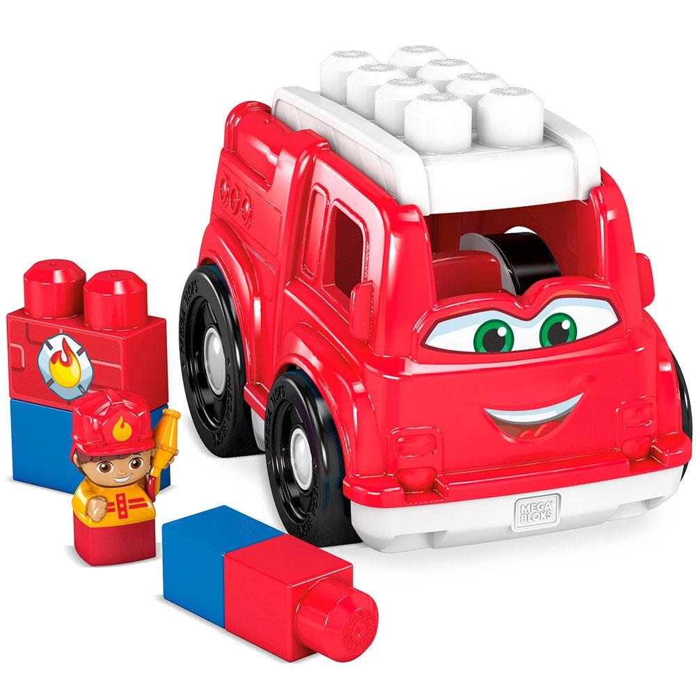 Set constructie Fisher Price Mega Blocks Masina de pompieri cu 6 piese