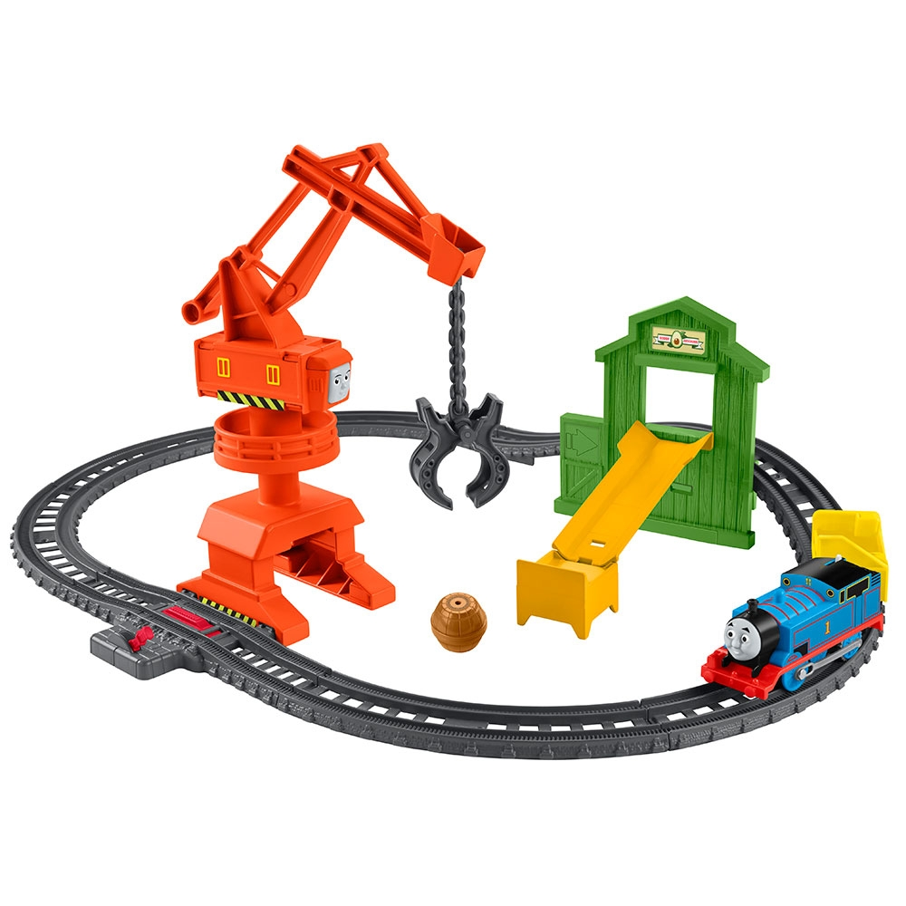 Set Fisher Price by Mattel Thomas and Friends Cassia Crane and Cargo sina cu locomotiva motorizata si vagon