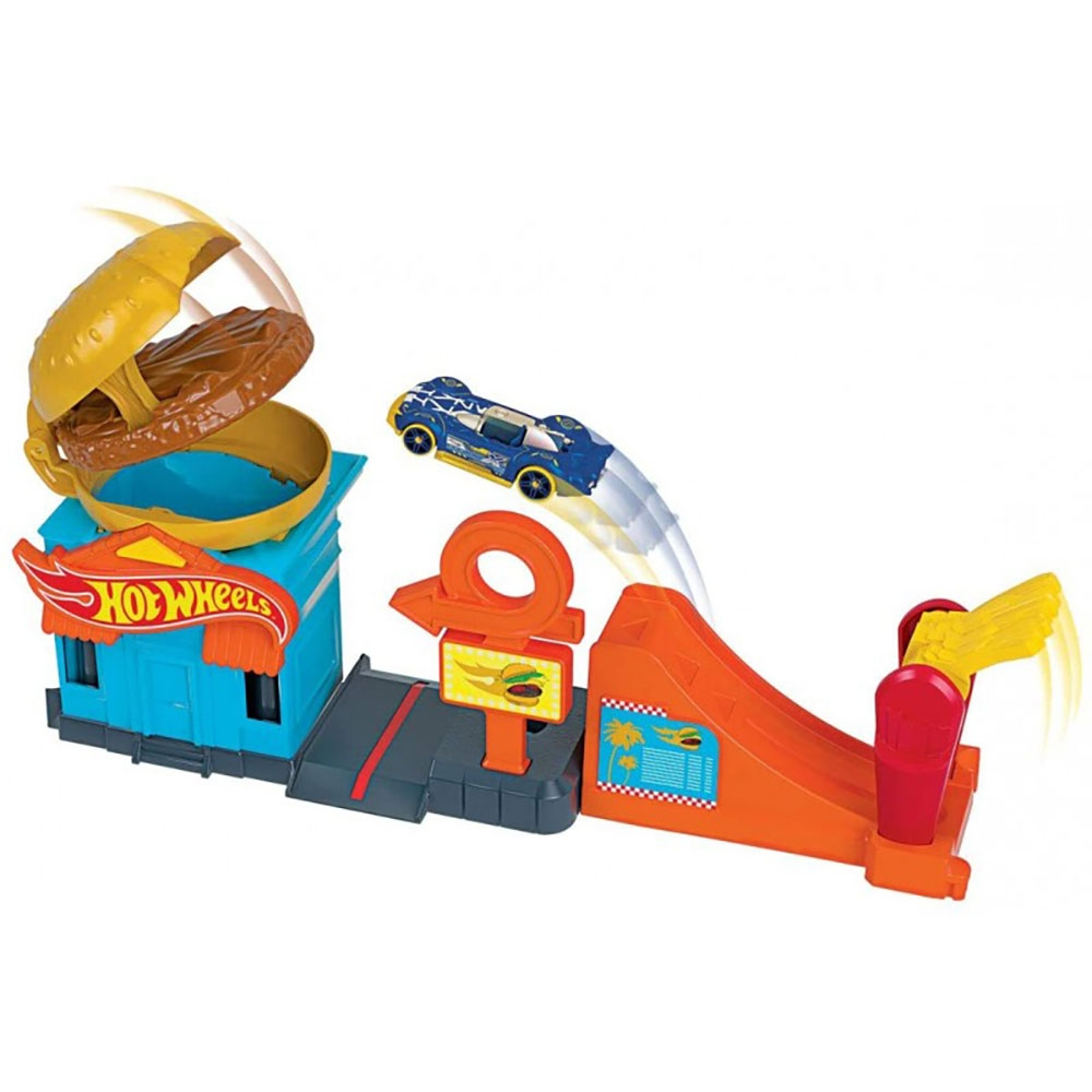 Pista de masini Hot Wheels by Mattel City Downtown Burger Dash cu masinuta