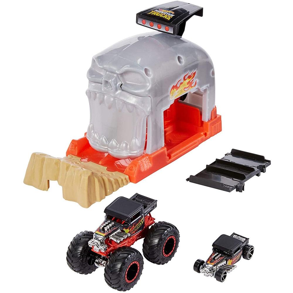Pista de masini Hot Wheels by Mattel Monster Truck Bone Shaker cu 2 masinute