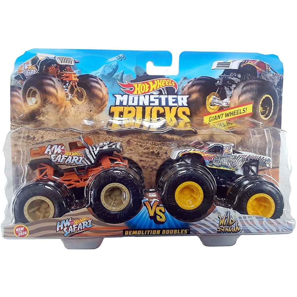 Set Hot Wheels by Mattel Monster Trucks Demolition Doubles HW Safari vs Wild Streak