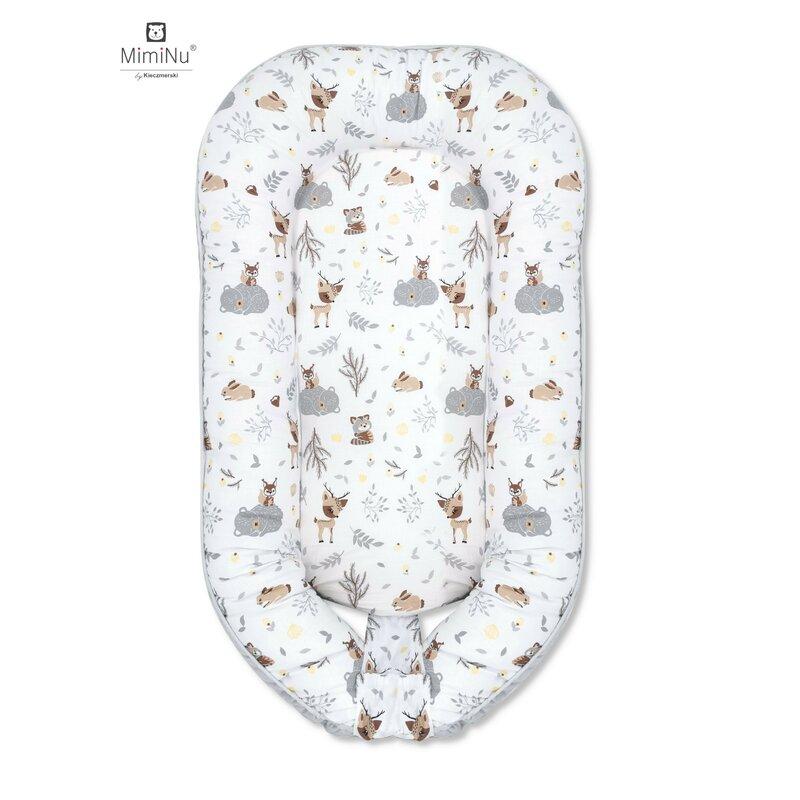 MimiNu - Cosulet bebelus pentru dormit, Baby Nest 105x66 cm,Velvet Forest friends Grey/Beige imagine