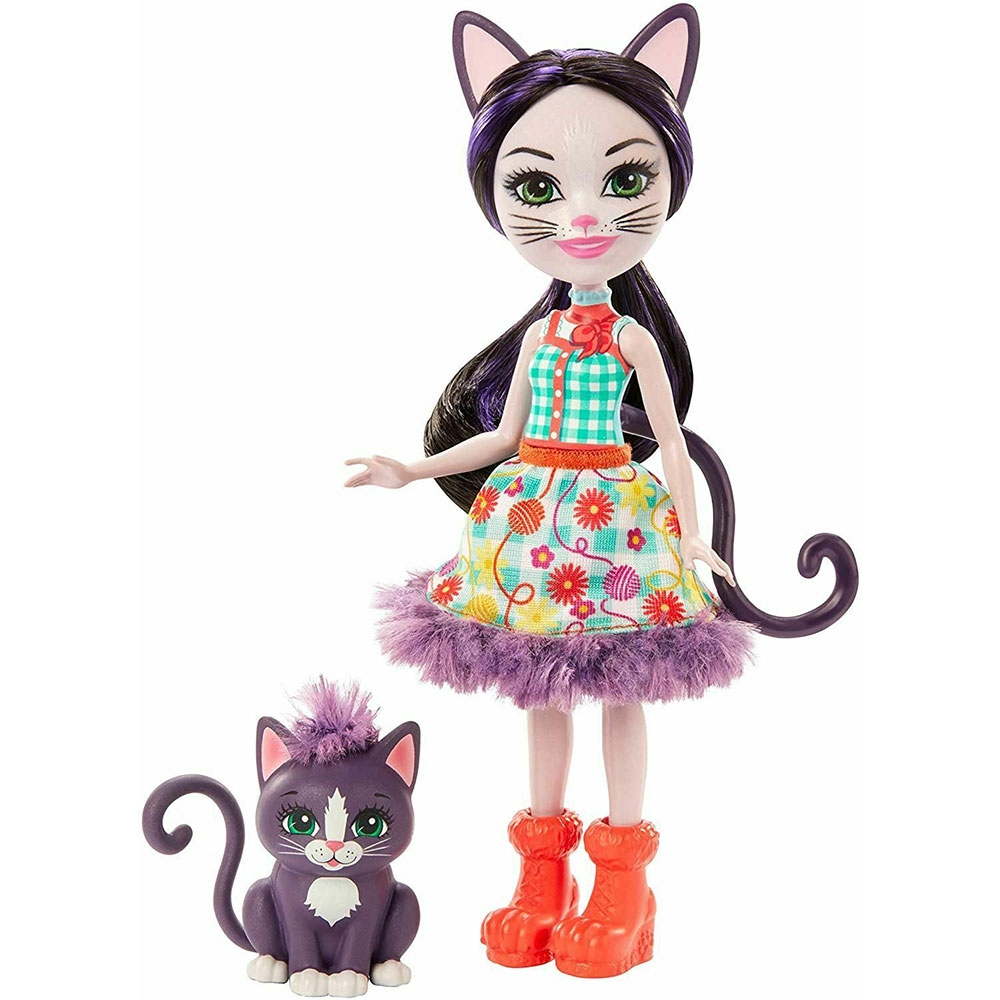 Papusa Enchantimals by Mattel Ciesta Cat cu figurina Climber