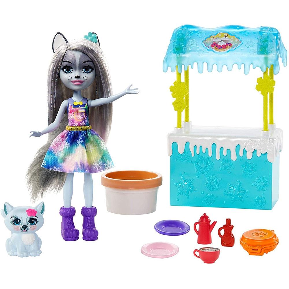 Set Enchantimals by Mattel papusa Winsley Wolf, figurina Trooper si accesorii