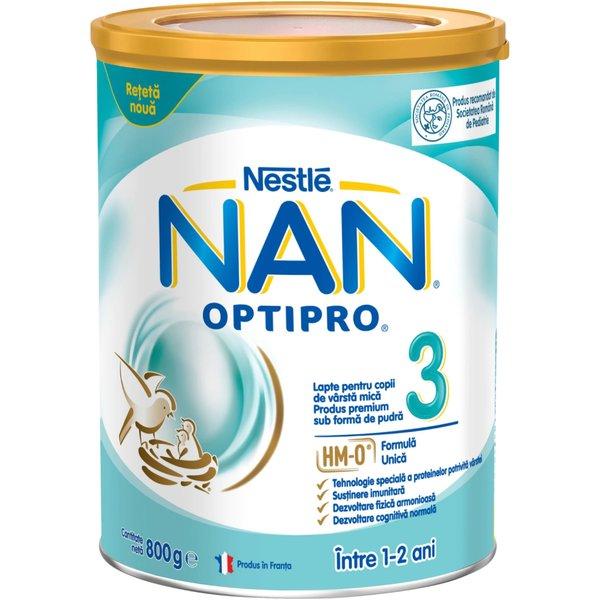 Lapte pentru copii de varsta mica Nestlé NAN OPTIPRO 3 HM-O, intre 1-2 ani, 800g imagine