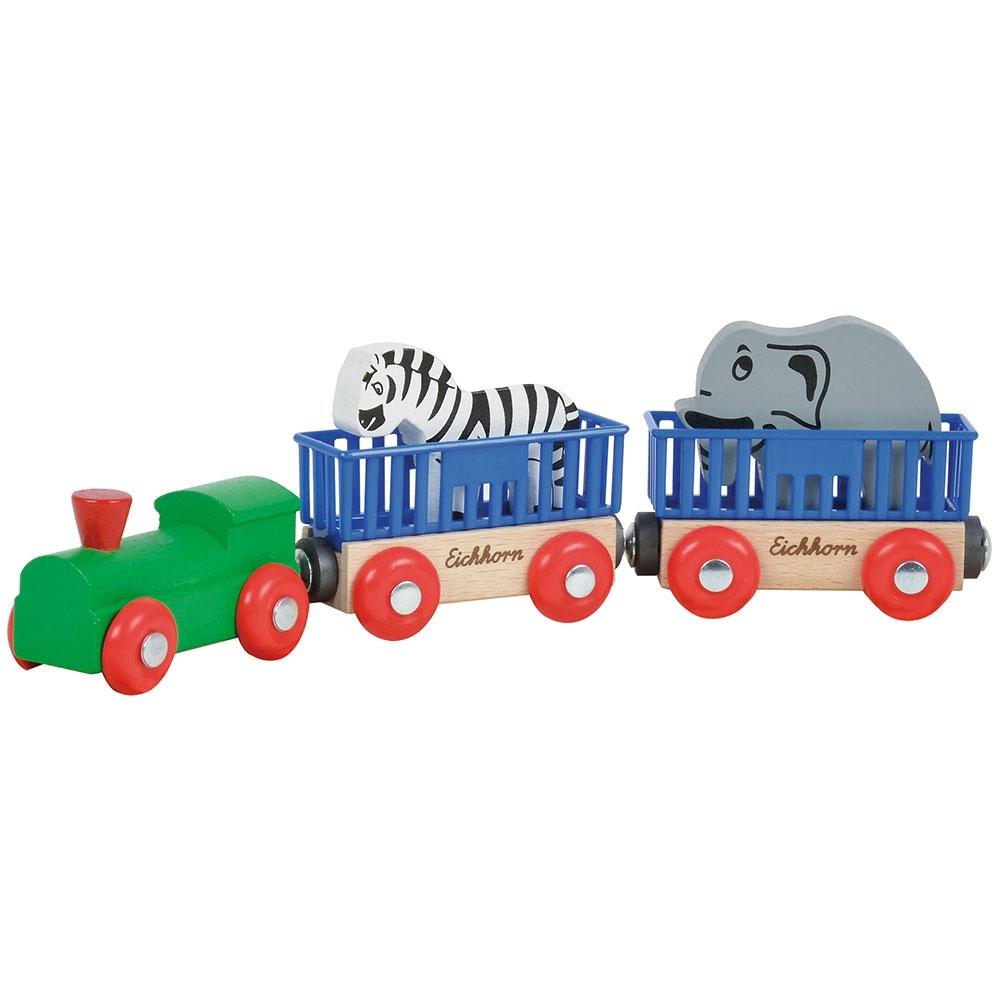 Tren din lemn Eichhorn Animal cu 2 figurine