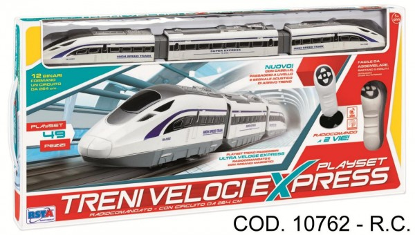 Tren electric cu sina si telecomanda RS Toys 49 piese
