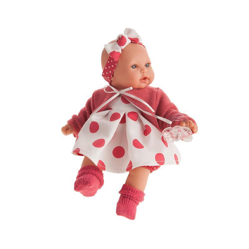 Papusa fetita Kika Lunares Rojos, cu hainute rosii, 27 cm, Antonio Juan